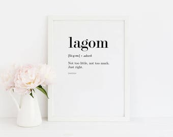 Lagom Poster / Swedish Poster / Quote Print / Scandinavian Print / Text Poster