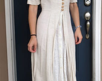 90's Natural Promod Lifestyle cream maxi dress