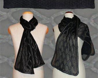 "Silk scarf ""reptile skin"" black-anthracite, snakeskin-optic, Nuno-scarf, felt-scarf, silk, wool"