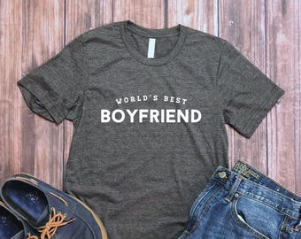 Valentines Day Gift for Him - World's Best Boyfriend Shirt - Boyfriend Tee - Mens Shirt - BF Gift - Sweet Gift for Boyfriend from Girlfriend