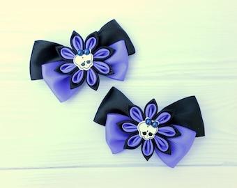 Black violet kanzashi flower Halloween hair clip Halloween hair gift Skull bow girl Set of 2 Kanzashi hair clip Statement unique hair piece