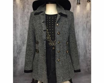 St. John Jacket SJ Collection VINTAGE Blazer with Gold Paillettes & Buckles