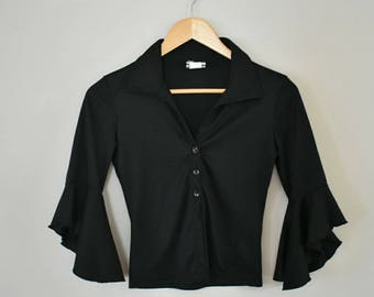 BLACK LIQUORICE TOP | Anxiety Café | women's size small |  90's shirt | bell sleeves | cropped shirt
