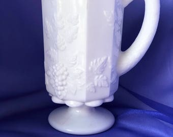 Milk Glass Pitcher / Grapevine / Housewarming Gift / New Home / Kitchen Decor / Milk Glass Collection