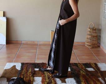 90s Minimal Cotton Button Up Dress | Minimal Straight Cut 90s Black Dress / Vest