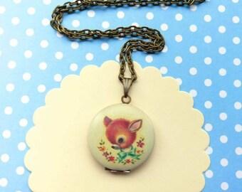 SALE! Vintage deer locket necklace deer locket deer locket pendant necklace Bambi  jewelry deer jewellery bird deer locket necklace