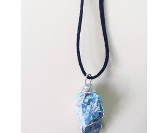 Handmade Blue Apatite Crystal Necklace