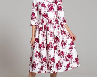 100% cotton dress, midi dress floral, white dress, casual summer dress, printed dress, vacation dress, elegant dress, summer midi dress