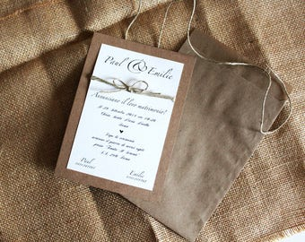 Participation in Shabby Chic wedding with twine and Kraft cardboard.