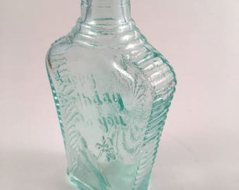 Green glass Happy Birthday vintage bottle