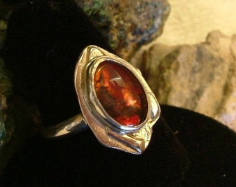 Ammolite Ring Sterling Silver Large OOAK Gem from Utah Deposit Statement Ring Dragon Eye Size 9 3/4 Boho Red Orange Fire  208G