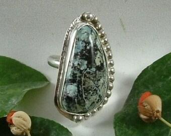 Turquoise Ring Large Statement Ring Size 6 1/2 Large Chunky Natural Utah Picture Turquoise Blue White Black Boho   300G