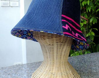 Jeans and Hmong tribes cloth Cloche Hat