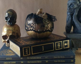 Metallic gold steampunk pumpkin halloween decoration for Sophisticated halloween