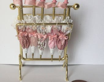 Handmade DollHouse Miniature 1/12th scale Ladies Shop Filled pink parasol display stand