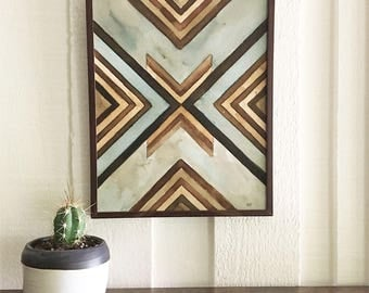 Original Abstract Geometric Painting with Frame