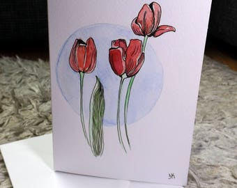 Tulip watercolor originally painted card