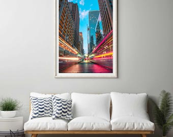 Houston metro light trail photography print. Urban landscape photograph. Large vertical colorful art print.