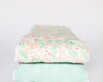 Flannel Cloth Diaper Burp Cloth - Set of 2 - Baby Girl