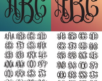 Bundle, Interlocking Vine Monogram Font SVG, Vine Monogram Font Cut files, Interlocking monogram, Svg files for Silhouette, Cricut, Studio3.