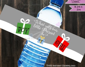 Christmas Gender Reveal Present Water Bottle Label Beer Label Bottle Wrap Christmas Food Holiday Party Decoration Printable INSTANT DOWNLOAD