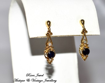 9ct Gold, Diamond & Sapphire Drop Earrings Beautiful Design