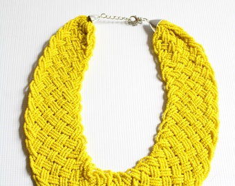 Braided yellow necklace, Statement necklace, Beaded necklace, African necklace, African jewelry