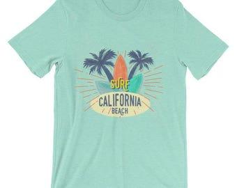 Surf California Beach Unisex T-Shirt Summer Beach Unisex T-Shirt California Beach Surfing Unisex T-Shirt Summer Gift T-Shirt