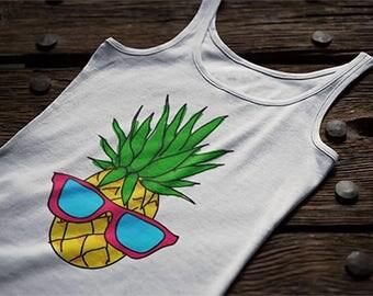 Pineapple Man Women's Tank Top Summer Pineapple Tank Top Pineapple With Glasses Summer Women's Tank Top Witty Novelty