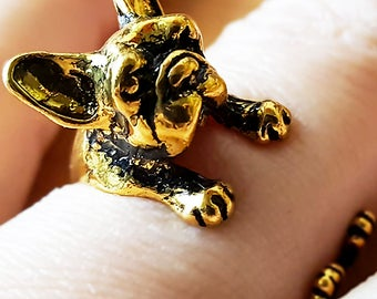 French Bulldog Wrap Ring - Adjustable - Witty Novelty