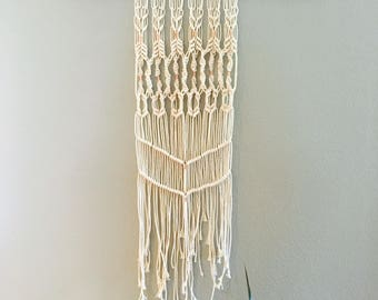 Wall Tapestry White Cotton Rope with Copper Accents