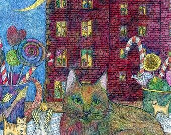 cat prints art, city landscape, print wall art, rainbow cat, christmas prints, painting cat, cat nursery decor, cat rainbow print, print
