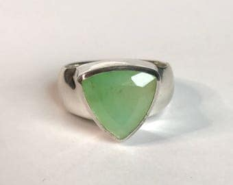 Triangle Chrysoprase Ring US 8