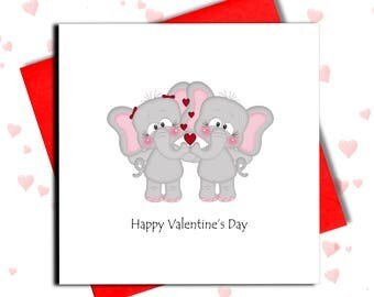 Elephant Valentine Card, Valentine's Day Cards, For Him, For Her, Love Card