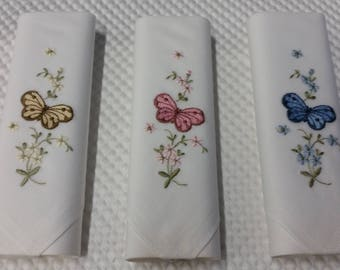 Set of 3 Embroidery Handkerchiefs in 3 assorted Butterfly Floral COLORS!