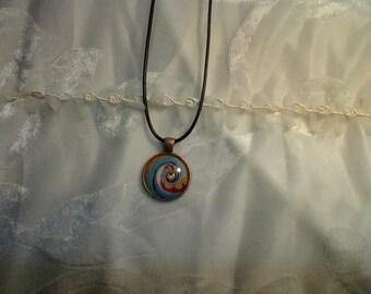Rainbow Swirls Cabochon Necklace . BEAUTIFUL and fun. FREE SHIPPING