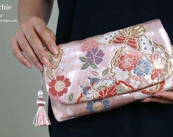 2 way silk clutch bag made from Japanese Kimono obi