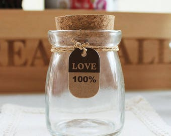 200ml Slime container - leadless cork glass bottle - gift collection bottle - pudding bottle - slime supplies