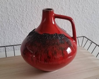 Fat lava vase red 18cm high with handle W. Germany 203 60s 70s vintage