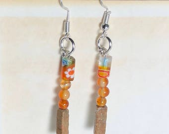 Orange stone and glass earrings - floral