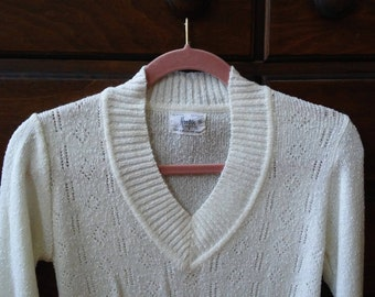 60s/70s Textured Knit Sweater - Cream