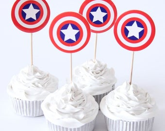 Captain america cupcake toppers Etsy