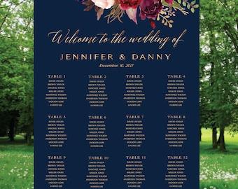 Navy wedding seating chart, Wedding Seating Chart, Wedding seating poster, Navy seating chart, Seating chart template, Alphabet chart, SC110