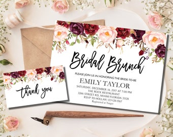 Bridal Brunch Invitation, Watercolor bridal invite, Floral Bridal Shower Card, Instant Digital Download File, Bridal Brunch Boho Floral, #01