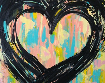 Abstract painting acrylic heart on pastel background