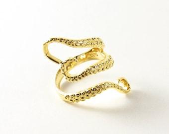 Gold Octopus Ring Golden Tentacles Adjustable Womens Ring Sea Kraken Squid Ocean Beautiful Gold Ring