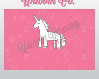 "Unicorn Blank Note 4"" x 6"" || Instant Download || Unicorn Card || Flat Card || Folded Note Card || Marketing Branding"