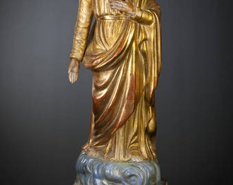 "RARE 19"" Saint Joseph Antique Terracotta Sculpture St Polychromed Gilt Statue"