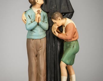 RARE Saint Don Bosco with Two Boys Plaster Statue St John Father of Youth