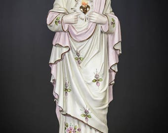"Christ Statue | Sacred Heart of Jesus Figure | Antique Bisque Porcelain Figurine | 17"" Large"